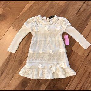 Boutique Cream Sweater Ribbon Dress Girls